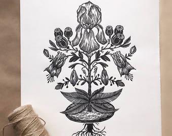 Flower. Original linocut print