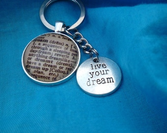 Live your dream affirmation silver toned Key ring Chain bag charm tone lobster clasp writer