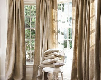 Burlap Curtains Window Treatments Home Decor All Natural Panels Are 40 Inches Wide