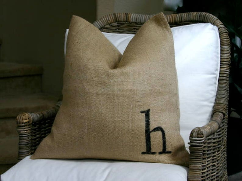monogrammed burlap pillow cover