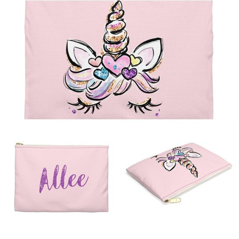 Unicorn name pouch Pouch for School Personalized Unicorn Pouch for Girls Custom Unicorn Pouch Accessory Pouch Personalised pencil case