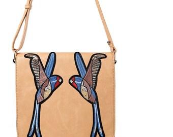 Embroidered birds shoulder/crossbody/messenger bag
