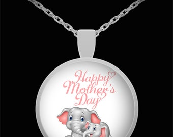 Happy Mother's Day Limited Edition Mother Baby Elephant Keepsake Silver Round Pendant- Mama Baby Elephant Gifts Necklace