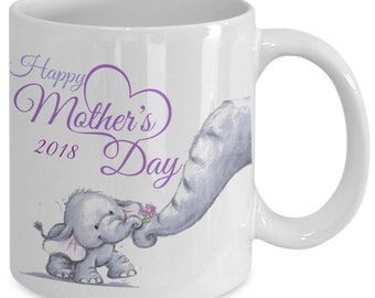 Happy Mother's Day Limited Edition Mother Baby Elephant Keepsake Purple and White Coffee Mug- Mama Baby Elephant Gifts - Elephants
