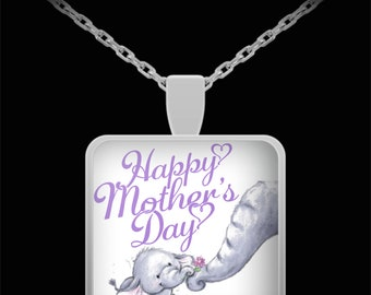Happy Mother's Day Limited Edition Mother Baby Elephant Keepsake Silver Pendant- Mama Baby Elephant Gifts Necklace
