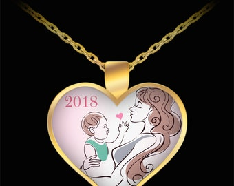 New Mother's Day Limited Edition 2018 Mother Baby Gold Heart Limited Edition Keepsake Pendant- Mother Child Birthday Gift for New Mom