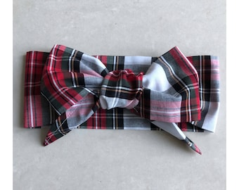 Beautiful Red, White and Black Tartan Oversized Headwrap Bow