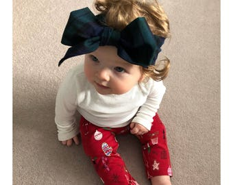Beautiful Green and Navy Tartan Oversized Headwrap Bow