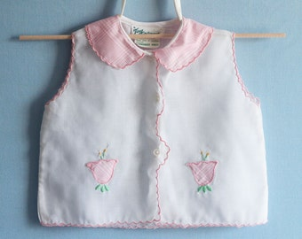Vintage Pink and White Baby Top