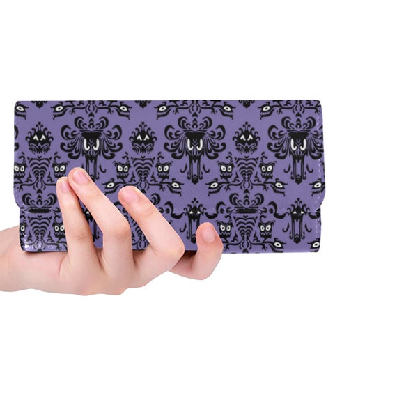 Haunted Mansion Pattern Men/'s Wallet Black Leather Custom