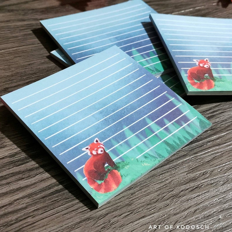 Art of Xodosch Red Panda little square notepad writing pad -block note memo pad