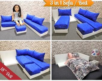 Marvelous 3 In 1 Sectional Sofa Bed For American Girl Doll 18 Inch Etsy Short Links Chair Design For Home Short Linksinfo