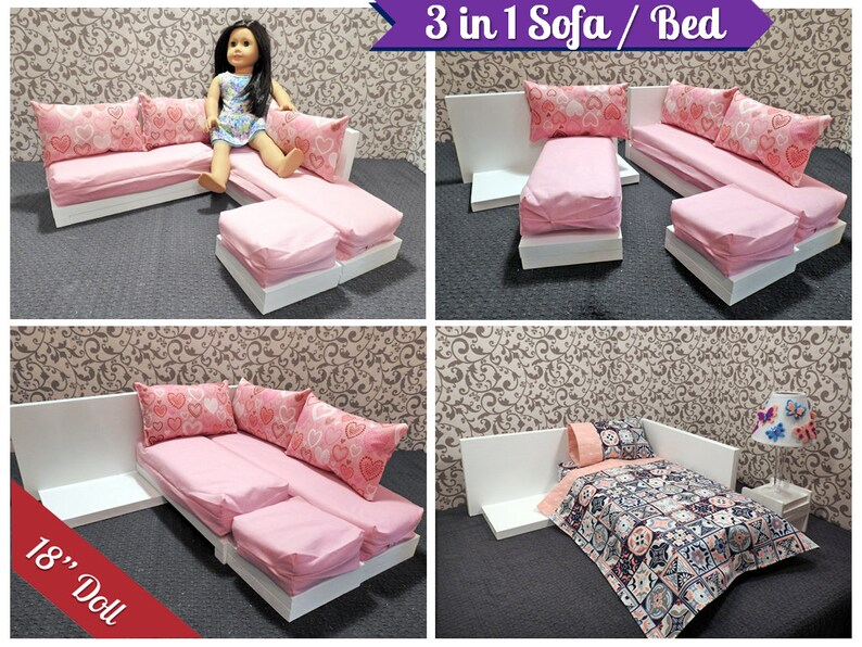 3 In 1 Sectional Sofa Bed For American Girl Doll 18 Inch Etsy