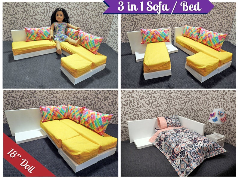 Fine 3 In 1 Sectional Sofa Bed For American Girl Doll 18 Inch Doll Couch 18 Inch Doll Bed Doll Bed Doll Couch Doll Furniture Yellow Rainbow Short Links Chair Design For Home Short Linksinfo