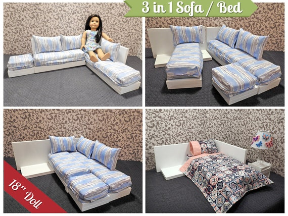 Brilliant 3 In 1 Sectional Sofa Bed For American Girl Doll 18 Inch Doll Couch 18 Inch Doll Bed Doll Bed Doll Couch Doll Furniture Blue Gray Short Links Chair Design For Home Short Linksinfo