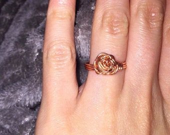 Rose copper wire ring