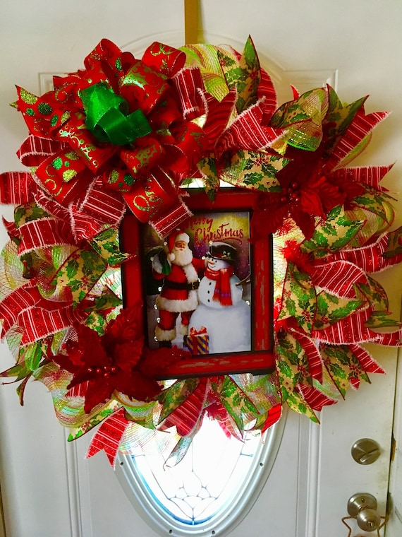 Extra Large Christmas Lighted Wreath Front Door Decor Sale Etsy