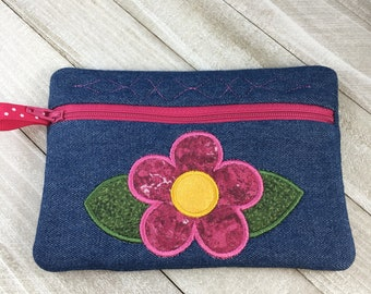 Friend Quote Gift Pouch Tea Stain and Red Zipper Pouch Small Bag Flower Design