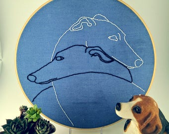 Greyhounds - Hand embroidered art piece - Periwinkle linen - 9 x 9 in.