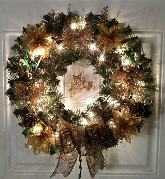 gold and black herald angel christmas wreath