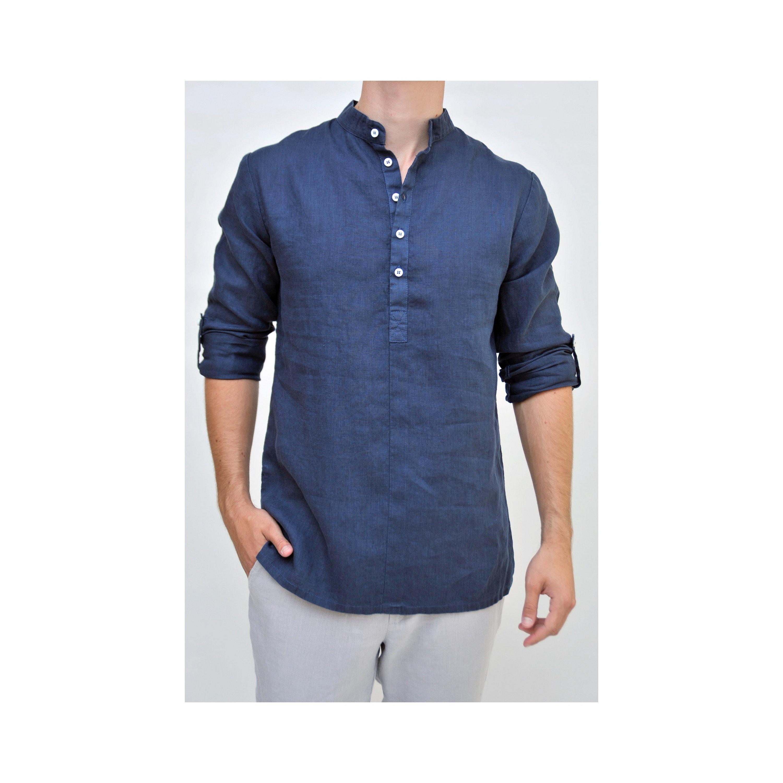 Mens Casual Linen Shirts Adomas Mens Indigo Linen Shirts Etsy