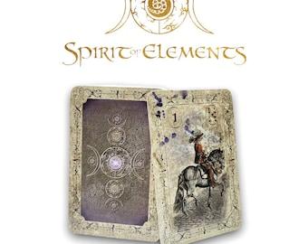 Spirit of Elements Lenormand Cards / Old Color Vintage with Skat Cards