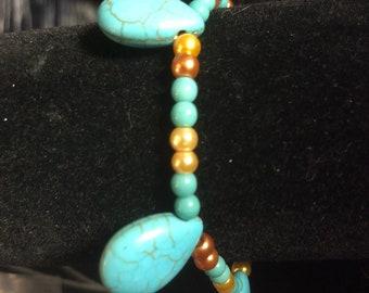 Turquoise/gold bracelet