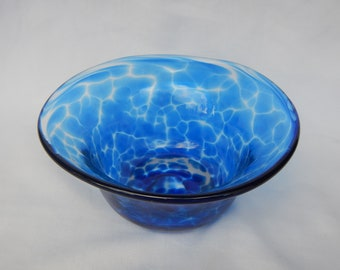 Blue and clear small hand blown glass bowl