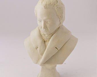 Miniature handmade bust of Chopin, Dollhouse bust, scale 1:12, Dollhouse figure, Hand painted miniature bust, Limited edition gypsum Chopin
