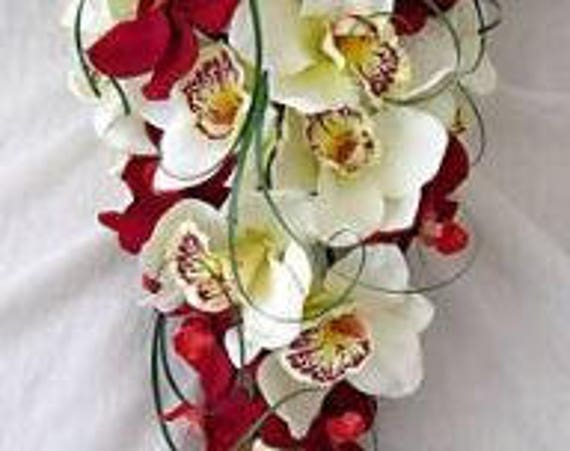 Artificial Wedding Flowers, Brides Teardrop Bouquet with Red and Cream Orchids, Beargrass