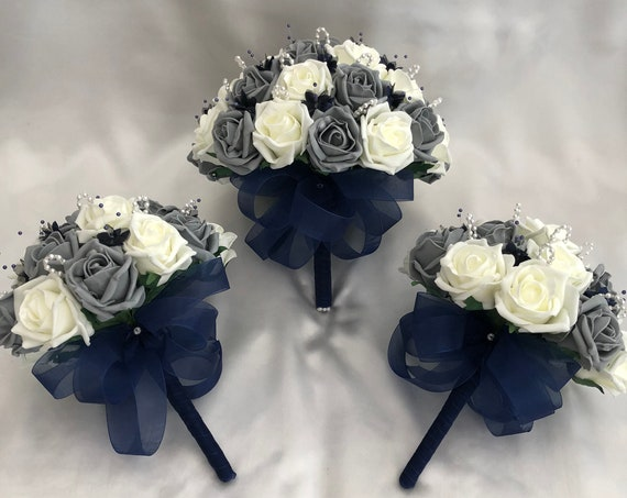 Artificial Wedding Flowers, Brides Posy Bouquet with 2 Bridesmaids Posies, Grey and Ivory Roses, pearl loops, navy blue babies breath