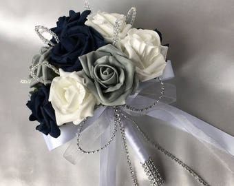 Navy blue bouquet etsy artificial wedding flowers brides bridesmaids flower girls posy bouquet with navy blue grey and white roses with crystal loops mightylinksfo