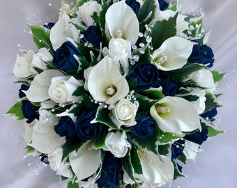 Navy bouquet etsy artificial wedding flowers bride bridesmaids posy bouquet with calla lilies navy blue and ivory roses foliage crystal and pearl sprays mightylinksfo