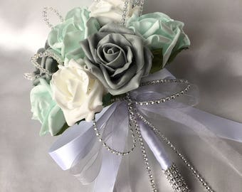 cee9fe543 Artificial Wedding Flowers, Brides, Bridesmaids, Flower girls Posy Bouquet  with Mint Green, Grey and White Roses with crystal loops