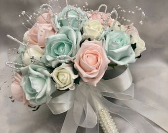 Mint bouquet etsy artificial wedding flowers brides flowergirls bridesmaids posy bouquet with baby pink mint green ivory roses pearls and diamantes mightylinksfo