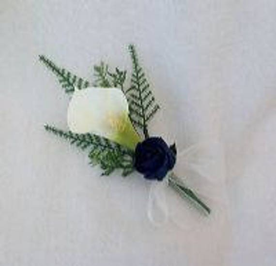 Artificial Wedding Flowers, Buttonhole, Boutonniere, Calla Lilies, Navy Blue Roses, Foliage, Crystal and Pearl Sprays