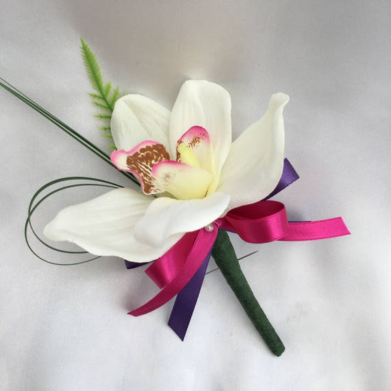 Artificial Wedding Flowers, Buttonhole, Butonniere, Cream Orchids, Beargrass, Fern, Pink and Purple Ribbon Bow