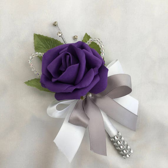 Artificial Wedding Flowers, Buttonholes, Boutonnieres, Ladies Corsage, Purple Roses with crystals and diamantes