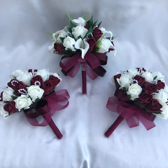 Artificial Wedding Bouquets, Packages, Brides Posy and 2 Bridesmaids Posy Bouquets, Calla Lilies, Burgundy and Ivory Roses, Foliage, Pearls