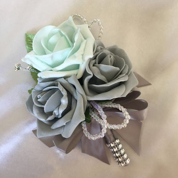 Artificial Wedding Flowers, Buttonholes, Boutonnieres, Ladies Corsage, Mint Green and Grey Roses with crystals and diamantes