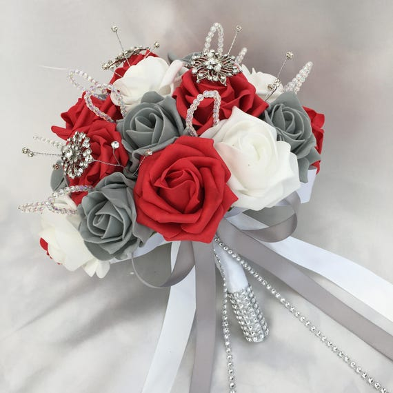 Artificial Wedding Flowers, Brides Posy Bouquet with Red, Grey and White Roses with brooches, crystals and diamantes