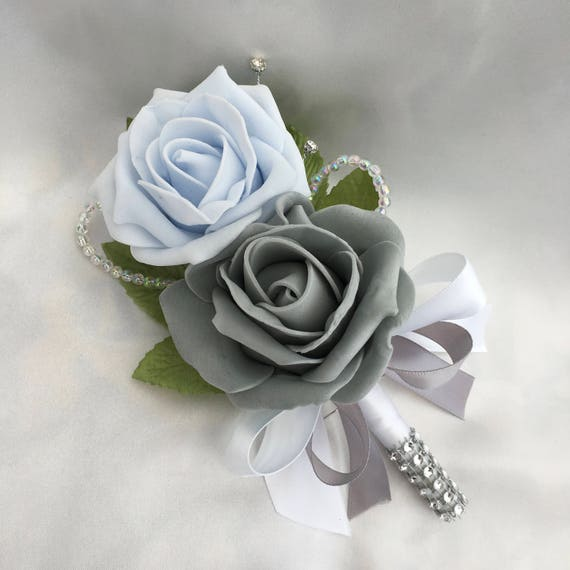 Artificial Wedding Flowers, Buttonholes, Boutonnieres, Ladies Corsage, Baby Blue and Grey Roses with crystals and diamantes