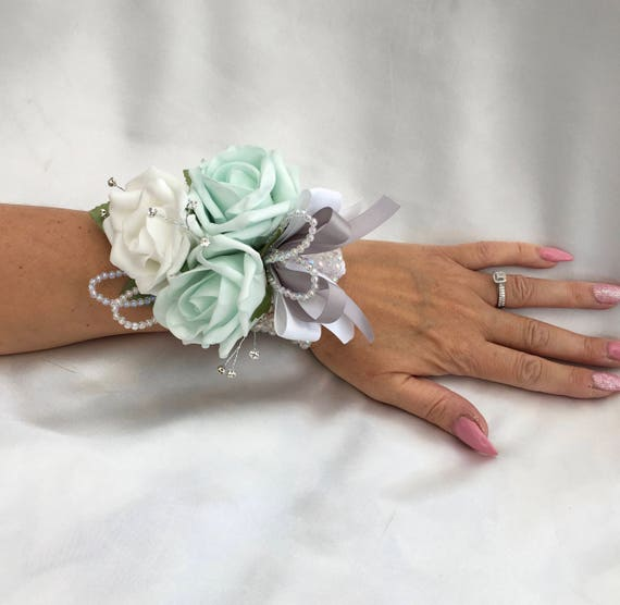 Artificial Wedding Flowers, Ladies Wrist Corsage, Buttonholes, Boutonnieres, Roses with crystals and diamantes, crystal wrist band