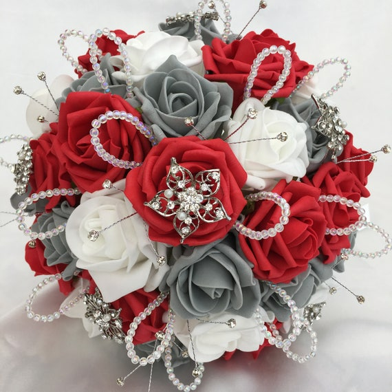 Artificial Wedding Bouquet, Brides Posy Bouquet with Red, Grey and White Roses with brooches, crystals and diamantes