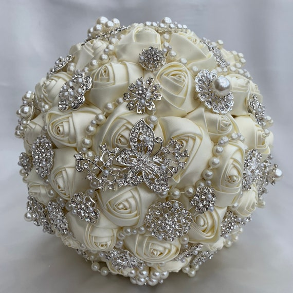 Brides Brooch Bouquet, Ivory and Silver, Satin Roses, Unique Elegant Vintage Chic, Crystals and Pearls, Artificial Wedding Flowers