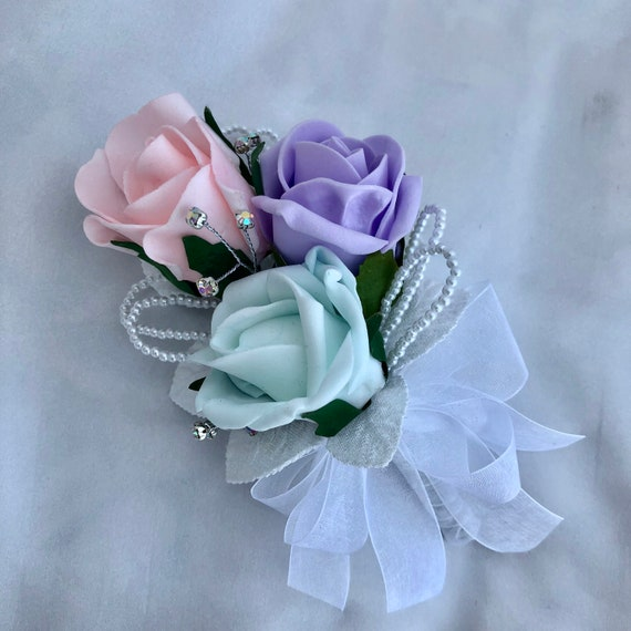 "Artificial Wedding Flowers, Ladies Corsage, Buttonhole, Boutonniere, Lilac, Baby Pink, Mint Green Roses, Diamantes ""ANY COLOUR AVAILABLE"""