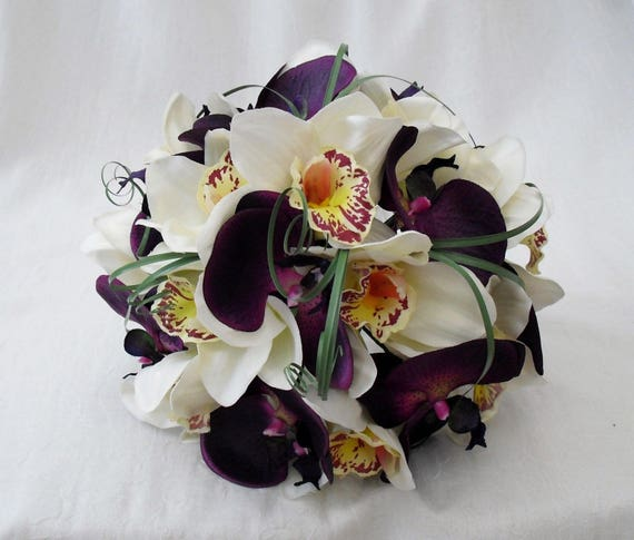 Artificial Wedding Flowers, Brides, Bridesmaids, Flower girls Posy Bouquet with Purple and Cream Orchids, Beargrass