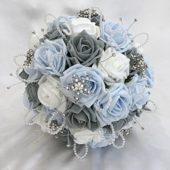 Artificial Wedding Bouquet, Brides Posy Bouquet with Baby Blue, Grey and White Roses with brooches, crystals and diamantes