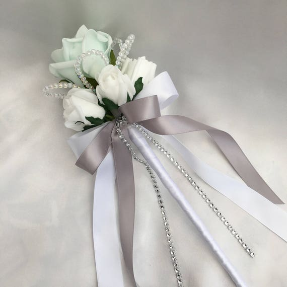 Customer Order 005 - Artificial Wedding Flowers, Flowergirls Wands, Buttonholes, Boutonnieres, Ladies Corsage, Mint Green, Grey, White Roses