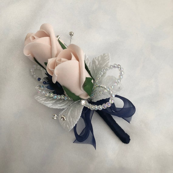 "Artificial Wedding Flowers, Ladies Corsage, Buttonhole, Boutonniere, Mocha Pink Roses, Navy Blue Ribbon, Diamantes ""ANY COLOUR AVAILABLE"""